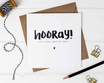 Hooray! It's Your Special Day Card - Birthday Card - Congratulations Card - Wedding Card