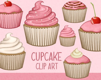 Pink cupcake clip art | cupcake - muffin - baking clip art | Printable Digital Illustration