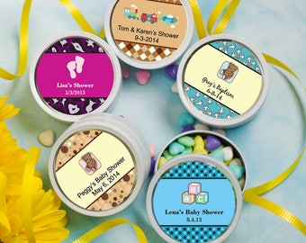 50 Personalized Baby Shower White Metal Mint Tin With A Clear Plastic Top  - Set of 50