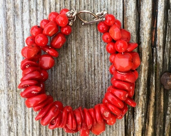 Red multistrand bracelet