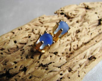 Sea Glass Jewelry - Cornflower Blue Stud Earrings - Sea Glass Gold Filled Earrings - Miniature Jewelry - Pure Ocean Jewelry Gifts of the Sea