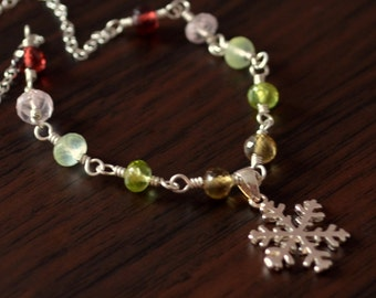 Snowflake Necklace for Girls, Sterling Silver, Real Garnet and Morganite Gemstone Jewelry, Christmas Colors, Holiday Gift
