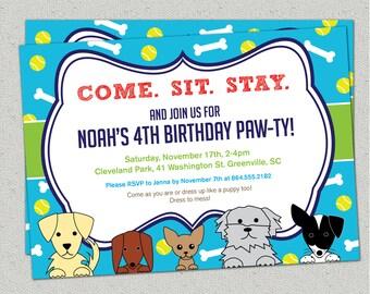 Puppy Dog Birthday Invitation, Paw-ty, Boy or Girl, Bones and Tennis Balls, doggie, puppies, DIY Printable digital file with Print Option