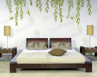 Willow Tree Wall Decal Tree Branch Weeping Birds Removable Vinyl Decals Large Wall Art Nursery Home Decor Mural Stickers Bedroom Living room