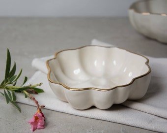 White Gold Pottery Bowl, Ceramics and Pottery, Decorative Bowl, Serving Bowls, Ceramic Bowl, Stoneware Bowl, Wedding Gifts, Kitchen Gifts