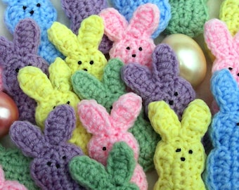 5 crocheted bunnies, 5 different pastel colors. Little Bunnies for your Easter fun. Easter basket.