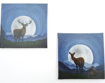 Set of two original acrylic paintings, stag and does with full moon and starry night sky.