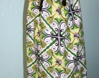 Filigree and Damask Wine Bottle Bag - Reversible - Drawstring - Reusable
