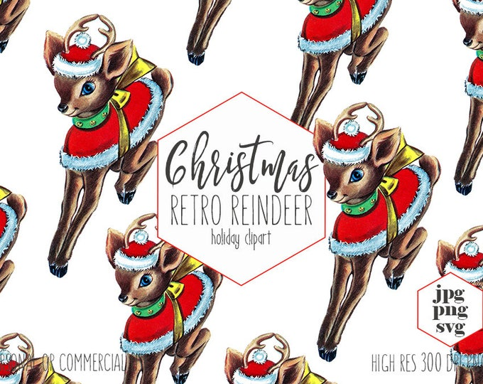 RETRO REINDEER Clipart For Commercial Use Cute Christmas Clip Art Vintage Santa Reindeer With Hat Holiday