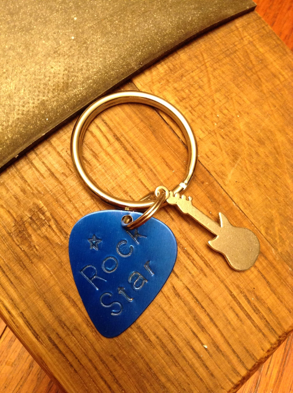blue guitar pick keychain metal stamped keychain rock star. Black Bedroom Furniture Sets. Home Design Ideas
