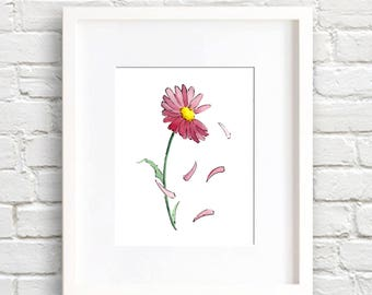 Pink Daisy Art Print - Daisy Flower Wall Decor - She Loves Me - Floral Watercolor Painting