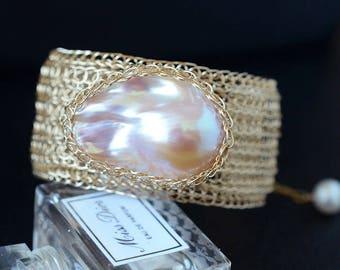 Cleopatra-Adjustable Gold Large Freshwater Baroque Pearl Bracelet-14K Gold Filled Wire Bracelet-Wire Weaved Bracelet-Gift