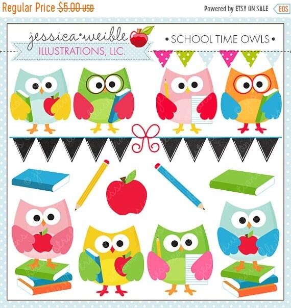 sale school time owls cute digital clipart for commercial and rh etsystudio com Owl Teacher Clip Art Teacher Reading Clip Art