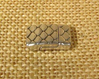 Scales 10mm Flat Leather Clasps - Antique Silver - 10FCL-B26-AS - Choose Your Quantity