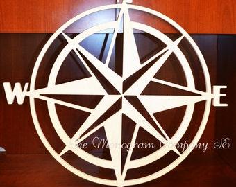 Nautical Compass Rose Wood Wall Art