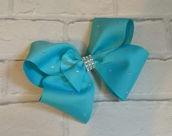 "Large 8"" Turquoise Boutique Hair Bow with Rhinestones like JoJo Siwa Bows Signature Keeper Dance Moms"