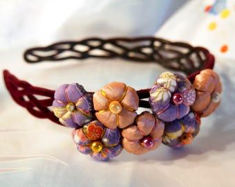 Headband - Pink Purple - Tsumami Kanzashi flowers headband