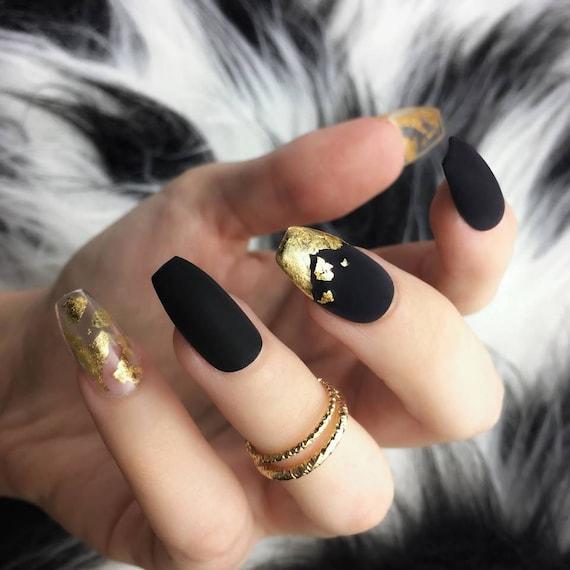 Matte Black Gold Leaf Press on Nails Gold Foil Metallic
