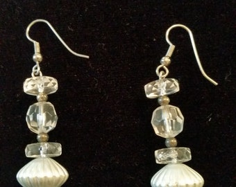Vintage Dangle Bead Pierced Earrings Silver Tone and clear beads