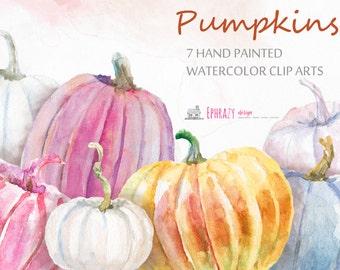 Pumpkins clipart. Watercolor clipart. Fall clipart. Autumn clipart. Pumpkins clip art. Pumpkin. Watercolor pumpkins.