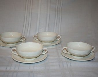 Vintage Wedgewood EDME Footed Cream Soup Bowls and Saucers Set of 4