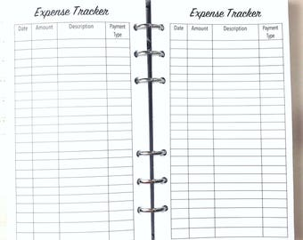 Personal Size Expense Tracker, Expenses, Spending Inserts for Ringbound Planners