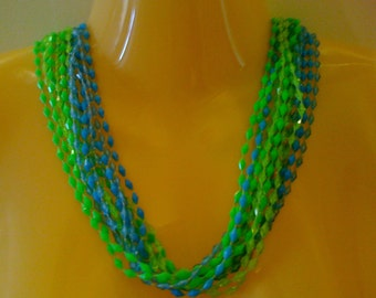 Mid-Century Lucite Flapper Necklace Green Blue Tornado Beaded Necklace Multi Strand Estate Jewelry 50 Jewelry