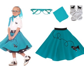 4 pc MEDIUM Child (7-9) 50's Poodle Skirt OUTFIT