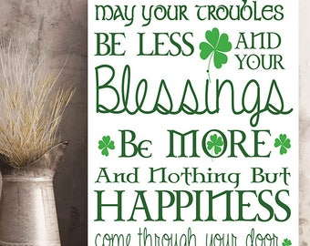 St. Patrick's Day Traditional Irish Blessing Wall Art on Metal or Wood.