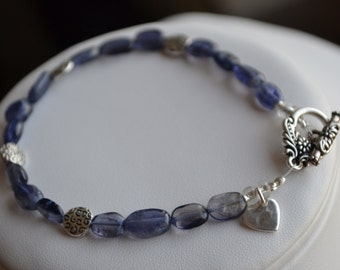 Bracelet - Smooth Kyanite Ovals with Paisley Imprint Pewter and a Sterling Heart Charm