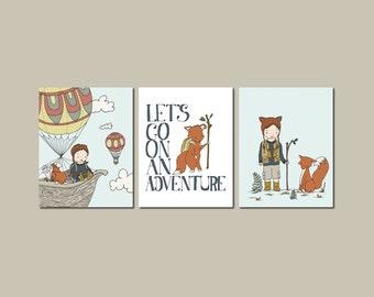 Woodland Nursery Art -- Woodland Fox Art -- Set of 3 Prints -- Boy and Fox Adventure Art -- Kids Wall Art -- BRUNETTE