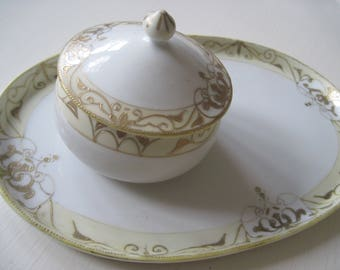 Hand Painted Antique Nippon Porcelain Lidded Bowl and Matching Tray, Sandwich Plate, Scrolling Gilded Design