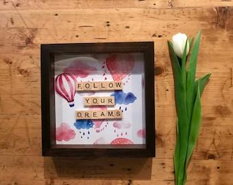 "Balloon Print Frame-""Be happy""/""Follow Your Dreams"""
