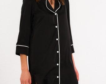 MY MIDNIGHTKISS SLEEPSHIRT silk luxury sleepwear embroidery  personalised pajama