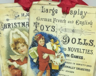 Gift Tags Christmas Gift Tags Toy Store Advertisment Vintage Children Vintage Toys Vintage Style Tags Shabby Chic Style Christmas Tags