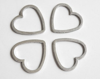 10 Open Heart Charms Connectors closed soldered jump rings antique silver 24x25mm P22615