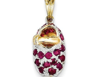 14K Yellow Gold and Rhodium Genuine Ruby July Birthstone Baby Shoe Pendant Charm LKQK552