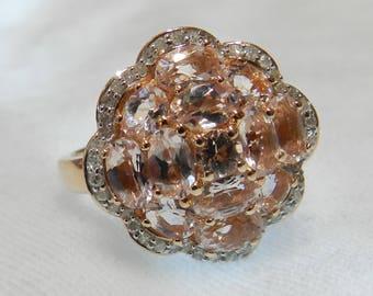 Morganite Ring 14K Diamond Morganite Engagement Ring Rose Gold Diamond Halo Ring Vintage Engagement Ring Gift for Her Holiday