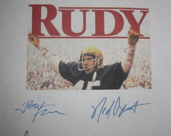 Rudy Signed Film Movie Script Screenplay Autographs Sean Astin Jon Favreau Ned Beatty Rudy Ruettiger Charles S. Dutton Lili Taylor signature
