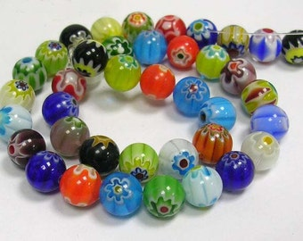 Millefiori Glass Beads Wholesale Beads BULK Beads Assorted Beads 8mm Beads 8mm Glass Beads Handmade Beads Floral Beads 48 pcs