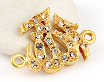 Arabic Allah / God Sideways Connector, 22k gold plated with crsytals, 1 piece // GPC-205