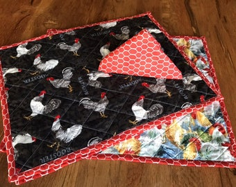 Rooster placemats and Chicken Wire napkins