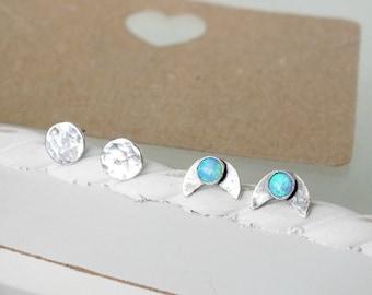 Sterling Silver Moon Studs, Silver Opal Moon Studs, Crescent Moon Stud Earrings, Oxidised Moon Studs, Set of Two Moon Studs, Full Moon Studs