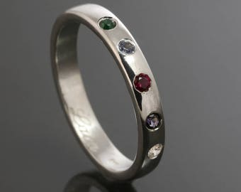 Mother's Ring / Grandmother's Ring / Family Ring. 5 Birthstones. Man Made Gemstone. Sterling Silver. Lab Created Stone. Flush Setting.