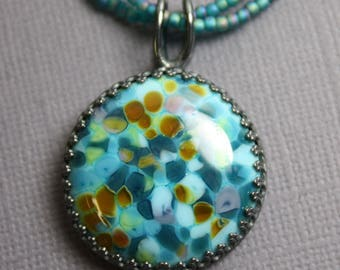 Blue Green Lmapwork Pendant, Glass Pendant, Blue Glass Pendants, Glass Art Jewelry, Lampwork Pendants, Kathy Bankston, Round Pendant