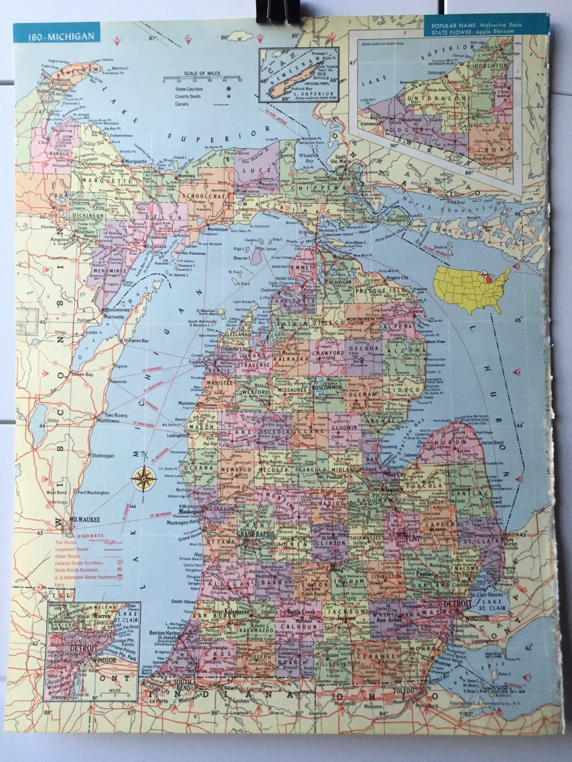 Vintage 1965 hammonds world atlas map page michigan on one side 500 gumiabroncs Gallery
