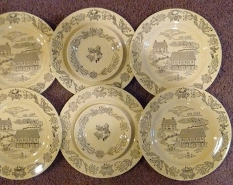 Bucks County Dishes by Royal Sebring, Ohio.  Plates.  Lot of 2 Saucers and 6 Dinner Plates.  Folk Dancers and Farm Scenes
