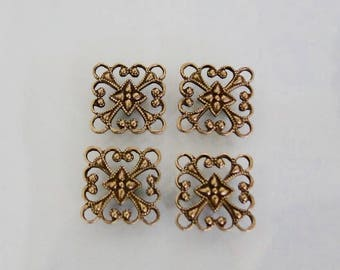 6 Antiqued Gold Filigree Square Connector, Pendant or Drop 12mm, Made in USA, AG45