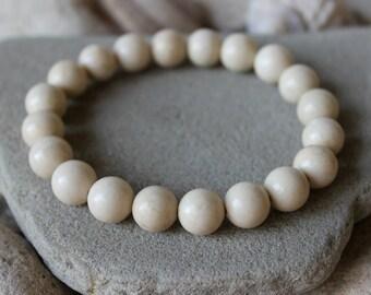 10mm Fossil Bracelet, Fossil Coral Bracelet, Natural Fossil Bracelet, Fossil Wrist Mala, Fossil Jewelry, Fossil Wrist Beads, Coral Bracelet