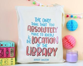 Albert Einstein Quote Tote Bag. Book Bag. Literary Gifts. Book Lover. Library Bag. Literary Quote. Typography. Reading.